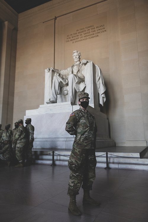 Washington DC, USA - January 22, 2021: Katrina Byrne, 20, at the Lincoln Memorial. She and other members of the Kentucky National Guard were in Washington as part of the increased security presence for the Presidential Inaguration.