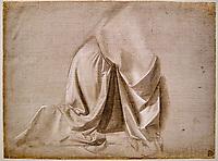 France, Paris, musée du Louvre, Leonard de Vinci, Draperie Jabach IV, figure agenouillée // France, Paris, Louvre museum, Leonardo da Vinci, Drapery Jabach IV, kneeling figure