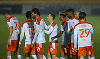 Blackpool's Dan Kemp (centre) celebrates scoring his side's fourth goal with teammates<br /> <br /> Photographer Alex Dodd/CameraSport<br /> <br /> FA Cup Second Round - Harrogate Town v Blackpool - Saturday 28th November 2020 - Wetherby Road - Harrogate <br />  <br /> World Copyright © 2020 CameraSport. All rights reserved. 43 Linden Ave. Countesthorpe. Leicester. England. LE8 5PG - Tel: +44 (0) 116 277 4147 - admin@camerasport.com - www.camerasport.com