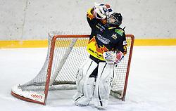 Goalkeeper of Slavija Rok Kozelj at SLOHOKEJ league ice hockey match between HK Slavija and HK Triglav Kranj, on February 3, 2010 in Arena Zalog, Ljubljana, Slovenia. Triglaw won 4:1. (Photo by Vid Ponikvar / Sportida)