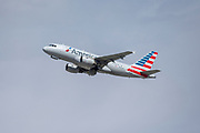 An American Airlines A319 takes off Los Angeles International Airport (LAX) on Friday, February 28, 2020 in Los Angeles. (Brandon Sloter/Image of Sport)