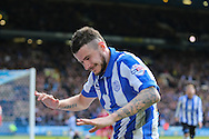 Sheffield Wednesday defender Daniel Pudil (36) celebrates Sheffield Wednesday striker Gary Hooper (14) goal during the Sky Bet Championship match between Sheffield Wednesday and Cardiff City at Hillsborough, Sheffield, England on 30 April 2016. Photo by Phil Duncan.