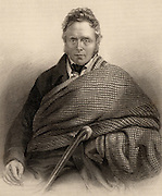 James Hogg, The Ettrick Shepherd (1770-1835) Scottish shepherd, poet and writer. His most important prose work is a novel 'The Private Memoirs and Confessions of a Justified Sinner', 1824.Engraving from 'A Biographical Dictionary of Eminent Scotsmen' by Thomas Thomson (1870).