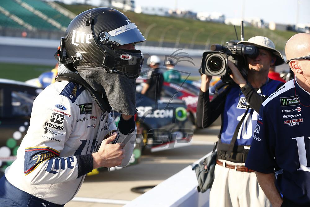 October 20, 2017 - Kansas City, Kansas, USA: Brad Keselowski (2) hangs out out on pit road prior to qualifying for the Hollywood Casino 400 at Kansas Speedway in Kansas City, Kansas.