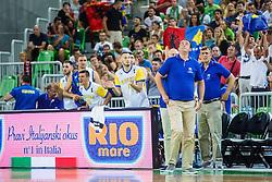 Team Kosovo during qualifying match between Slovenia and Kosovo for European basketball championship 2017,  Arena Stozice, Ljubljana on 31th August, Slovenia. Photo by Grega Valancic / Sportida