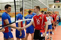 20170525 NED: 2018 FIVB Volleyball World Championship qualification, Koog aan de Zaan<br />Dimitrii Bahov (16) of Republic of Moldova, Fair Play<br />©2017-FotoHoogendoorn.nl / Pim Waslander