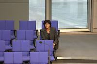 17 OCT 2003, BERLIN/GERMANY:<br /> Ulla Schmidt, SPD, Bundesgesundheitsministerin, sitzt allein in einer der letzten Reihe der FDP-Fraktion, waehrend einer Bundestagsdebatte, Plenum, Deutscher Bundestag<br /> IMAGE: 20031017-01-134