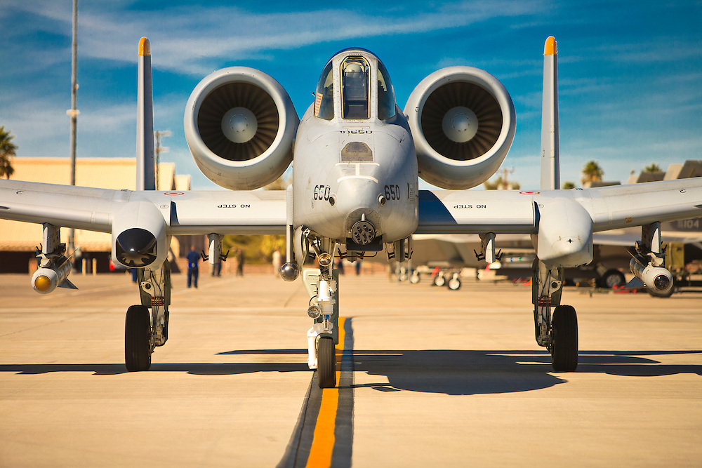 "A-10 Thunderbolt on the ramp during a ""Red Flag"" exercise at Nellis Air Force Base, near Las Vegas, Nevada."