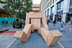 """© Licensed to London News Pictures. 18/09/2019. LONDON, UK. """"Talk To Me"""" by Steuart Padwick, an interactive installation comprising two large-scale works, standing over 5 metres high, which aims to raise awareness in support of the mental health anti-stigma campaign, Time to Change.  Preview of this year's Design Junction where multi-award winning designers have created installations across King's Cross, the capital's newest creative hub.  Design Junction runs 19 to 22 September and forms part of London Design Festival.  Photo credit: Stephen Chung/LNP"""