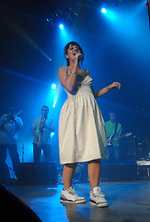 © London News Pictures. 03/2007. Lily Allen performing at the Wolverhampton Civic Hall March 2007 Picture Credit Should read Neil Hall/London News Pictures.