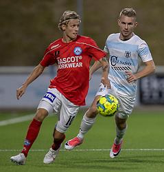 Magnus Mattsson (Silkeborg IF) og Anders Holst (FC Helsingør) under kampen i 1. Division mellem FC Helsingør og Silkeborg IF den 11. september 2020 på Helsingør Stadion (Foto: Claus Birch).