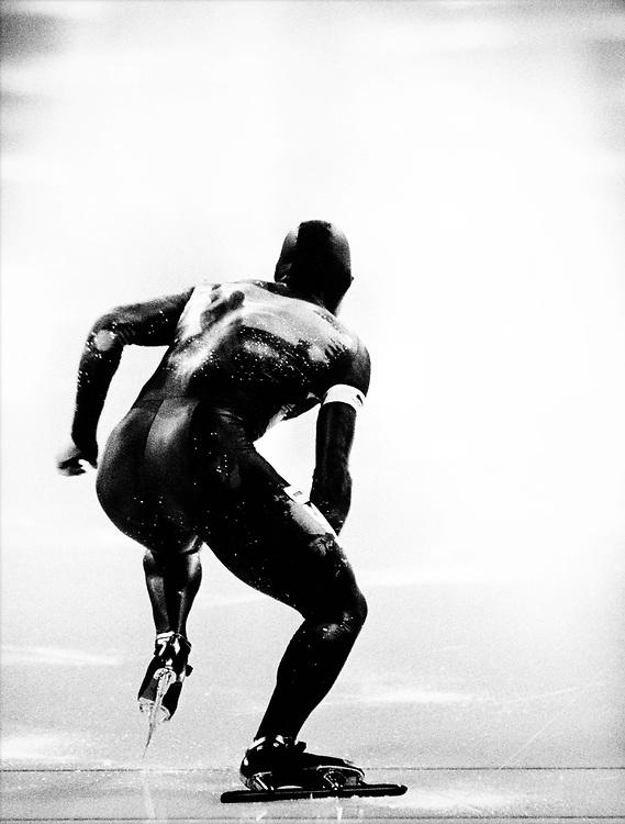 Norway, Hamar, 1994.<br /> Olympic Wintergames.<br /> Speed Skating, 1000 meter, Men.<br /> Dan Jansen ( USA ) starts on the 1000 meter. He became olympic champion in a new world record of 1.12.43.<br /> Photo : Klaas Jan van der Weij