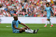 Vincent Kompany of Manchester city looks on. The Emirates FA Cup semi-final match, Arsenal v Manchester city at Wembley Stadium in London on Sunday 23rd April 2017.<br /> pic by Andrew Orchard,  Andrew Orchard sports photography.