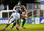 Leicester Tigers prop Luan de Bruin runs at Sale Sharks flanker Sam Dugdale during a Gallagher Premiership Round 7 Rugby Union match, Friday, Jan. 29, 2021, in Leicester, United Kingdom. (Steve Flynn/Image of Sport)