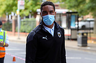 AFC Wimbledon defender Terell Thomas (6) arriving for the game wearing face mask during the EFL Sky Bet League 1 match between AFC Wimbledon and Plymouth Argyle at the Kiyan Prince Foundation Stadium, London, England on 19 September 2020.