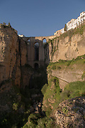 View of Puente Nuevo bridge and town buildings, Ronda, Andalusia, Spain