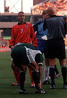 David Beckham (England) is booked by Referee Pierluigi Collina. England v Germany. Euro 2000. Chaleroi, Belgium 17/6/00. Credit: Colorsport.
