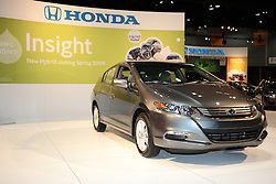 11 February 2009: 2010 HONDA INSIGHT: The all-new 2010 Honda Insight hybrid car defines a new stage in the evolution of hybrid technology, providing affordability, fun-to-drive performance, and a U.S. EPA city/highway fuel-economy rating of 40/43 miles per gallon. All Insights are powered by an advanced 1.3-liter SOHC aluminum-alloy i-VTEC engine and CVT, along with a new generation of Honda's IMA hybrid system. With a 10.6-gallon fuel tank, the Insight delivers an estimated maximum driving range in excess of 400 miles. Standard features on the five passenger Insight include 60/40 split and fold-down rear seatbacks; two-tier digital instrument panels; automatic climate control; power windows, mirrors and door locks; a tilting and telescoping steering wheel and a 160-watt AM/FM/CD audio system with MP3 audio playback, an auxiliary audio input jack and Speed-Sensitive Volume Control. Scheduled to arrive at Honda dealers in the beginning of April '09, the five-door Insight will be priced below the Civic Hybrid.. The Chicago Auto Show is a charity event of the Chicago Automobile Trade Association (CATA) and is held annually at McCormick Place in Chicago Illinois.