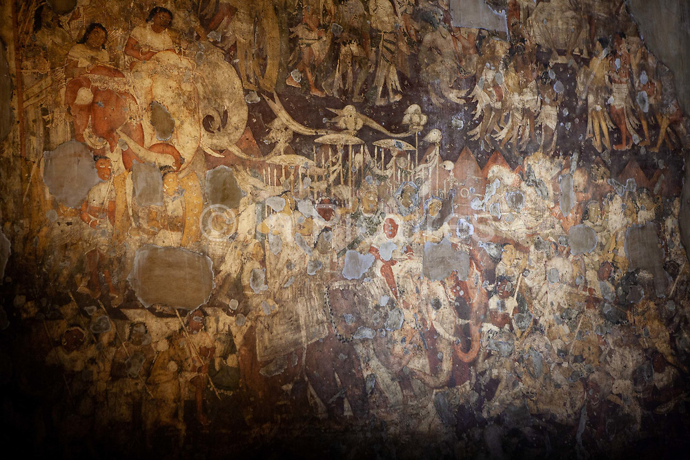 The UNESCO world heritage site of the Ajanta cave complex on 12th December 2009 in Maharashtra state, near Mumbai, India. The site consists of approx. 30 rock-cut Buddhist cave monuments which date from the 2nd century BCE to about 480 CE, which are ornately decorated and incredibly well preserved, boasting cave paintings and rock-cut sculptures described as among the finest surviving examples of ancient Indian art.