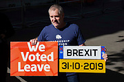 A vote leave protester outside the Supreme Court on day three of the hearing to rule on the suspension of parliament. Supreme Court judges will decide if Prime Minister Boris Johnson acted unlawfully in advising the Queen to prorogue parliament, on September 19th 2019 in London, United Kingdom.
