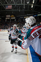 KELOWNA, CANADA - FEBRUARY 1: Nolan Foote #29 of the Kelowna Rockets celebrates a goal by high fiving teammates at the bench against the Calgary Hitmen on February 1, 2017 at Prospera Place in Kelowna, British Columbia, Canada.  (Photo by Marissa Baecker/Shoot the Breeze)  *** Local Caption ***