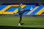 AFC Wimbledon goalkeeper Sam Walker (1) warming up during the EFL Sky Bet League 1 match between AFC Wimbledon and Hull City at Plough Lane, London, United Kingdom on 27 February 2021.