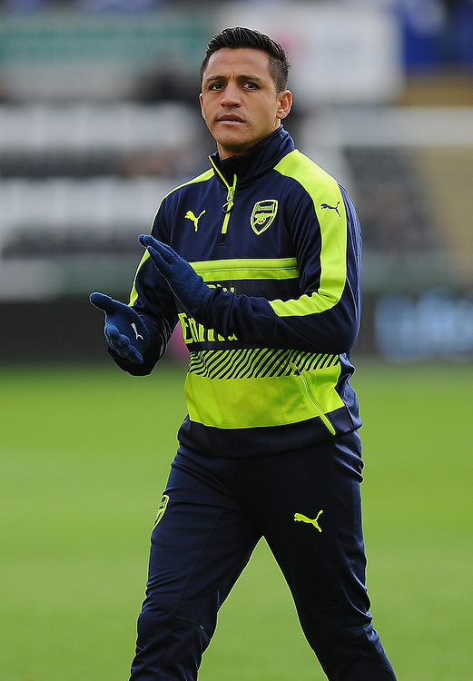 Arsenal's Alexis Sanchez during the pre-match warm-up <br /> <br /> Photographer /Ashley Crowden CameraSport<br /> <br /> The Premier League - Swansea City v Arsenal  - Saturday 14th January 2017 - Liberty Stadium - Swansea <br /> <br /> World Copyright © 2017 CameraSport. All rights reserved. 43 Linden Ave. Countesthorpe. Leicester. England. LE8 5PG - Tel: +44 (0) 116 277 4147 - admin@camerasport.com - www.camerasport.com
