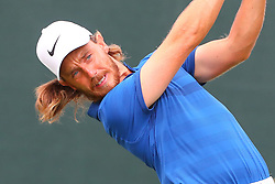 August 25, 2018 - Paramus, NJ, U.S. - PARAMUS, NJ - AUGUST 25:  Tommy Fleetwood of England plays his shot from the first tee  during the third round of The Northern Trust on August 25, 2018 at the Ridgewood Championship Course in Ridgewood, New Jersey.   (Photo by Rich Graessle/Icon Sportswire) (Credit Image: © Rich Graessle/Icon SMI via ZUMA Press)