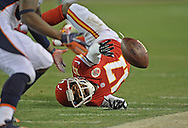 KANSAS CITY, MO - DECEMBER 01:  Wide receiver Donnie Avery #17 of the Kansas City Chiefs can't make a diving catch against the Denver Broncos during the second half on December 1, 2013 at Arrowhead Stadium in Kansas City, Missouri.  Denver beat Kansas City 35-28.  (Photo by Peter Aiken/Getty Images) *** Local Caption *** Donnie Avery