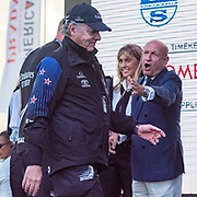 Emirates Team New Zealand Principal Matteo de Nora is called back by Longanesi Cattani CoR 36 CEO representative to receive a medal. Emirates Team New Zealand walk on stage to receive the Americas Cup on stage after beating Luna Rossa Prada Pirelli Team 7 - 3. Glen Ashby pours for Peter Burling.  Wednesday the 17th of March 2021. Copyright photo: Chris Cameron