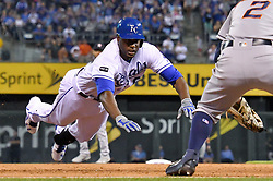 June 8, 2017 - Kansas City, MO, USA - The Kansas City Royals' Lorenzo Cain reaches third on a triple in the seventh inning, the Royals' first hit of the game, against the Houston Astros at Kauffman Stadium in Kansas City, Mo., on Thursday, June 8, 2017. (Credit Image: © John Sleezer/TNS via ZUMA Wire)