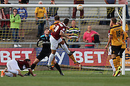Marc Richards of Northampton (9) leaps to score his side's second goal. Skybet football league two match, Newport county v Northampton Town at Rodney Parade in Newport, South Wales on Saturday13th Sept 2014<br /> pic by Mark Hawkins, Andrew Orchard sports photography.