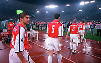 Silvinho brings up the rear as the Arsenal team walk out for the match. S.S.Lazio 1:1 Arsenal, UEFA Champions League, Group B, Olympic Stadium, Rome, 17/10/2000. Credit Colorsport / Stuart MacFarlane.