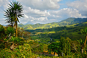 Costa Rica landscape, pasture, mountains and Arenal Volcano