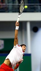 SHANGHAI, Oct. 13, 2018  Novak Djokovic of Serbia serves during the singles semifinal match against Alexander Zverev of Germany at 2018 ATP Shanghai Masters tennis tournament in Shanghai, east China, Oct. 13, 2018. Djokovic won 2-0. (Credit Image: © Fan Jun/Xinhua via ZUMA Wire)