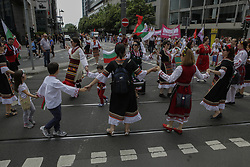 June 16, 2018 - Frankfurt, Hesse, Germany - A Bulgarian group, wearing traditional costumes, perform a traditional dance at the parade. Thousands of people participated and watched the 2018 Parade der Kulturen (Parade of Cultures), organised by the Frankfurter Jugendring (Frankfurt Youth Council). The parade with participants from over 40 different groups of expat and cultural organisations showcased the cultural diversity of Frankfurt. (Credit Image: © Michael Debets/Pacific Press via ZUMA Wire)