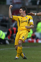 Lincoln City v Bristol Rovers. Coca Cola League 2. Play off, Semi Final 2nd Leg. 17/05/2007.<br />Stuart Campbell celebrates taking Bristol Rovers into an early lead with Byron Anthony and Chris Curruthers.