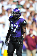 FORT WORTH, TX - SEPTEMBER 13:  Paul Dawson #47 of the TCU Horned Frogs lines up against the Minnesota Golden Gophers on September 13, 2014 at Amon G. Carter Stadium in Fort Worth, Texas.  (Photo by Cooper Neill/Getty Images) *** Local Caption *** Paul Dawson