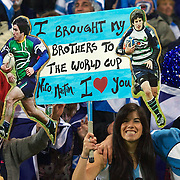Argentina fans celebrate their teams 13-12 victory during the Argentina V Scotland, Pool B match at the IRB Rugby World Cup tournament. Wellington Regional Stadium, Wellington, New Zealand, 25th September 2011. Photo Tim Clayton...