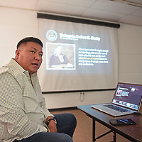 Alray Nelson, founder of Diné Equality speaks at an ally workshop Friday, June 14 at the Octavia Fellin Public Library Friday in Gallup.