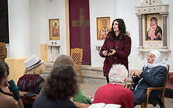 15 March 2019, Ma'alul: Ma'alul, a Palestinian village destroyed in the 1948 Arab-Israeli war, sees a visit by ecumenical accompaniers from the World Council of Churches Ecumenical Accompaniment Programme in Palestine and Israel. Here, Diana Bisharat. A US-born 33-year-old, Bisharat married and moved to Israel in 2011, as a descendant of the villagers of Ma'alul.