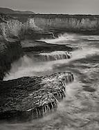 Winter waves along the coastal cliffs near Davenport, Santa Cruz County, California