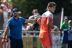 (L-R) coach Max Caldas of The Netherlands, Robbert Kemperman of The Netherlands during the Champions Trophy match between the Netherlands and India on the fields of BH&BC Breda on June 30, 2018 in Breda, the Netherlands