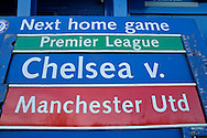a Board showing details of the  the next home match featuring Chelsea v Manchester United is seen outside Stamford  Bridge. Barclays Premier league match, Chelsea v Everton at Stamford Bridge in London on Saturday 16th January 2016.<br /> pic by John Patrick Fletcher, Andrew Orchard sports photography.