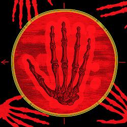 Retro Medical diagram illustration of human skeletal hands man woman anatomy anatomical in red