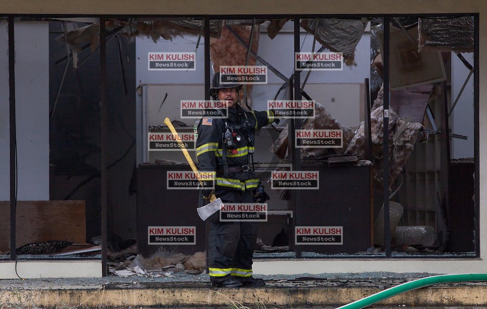 Vallejo firefighters battle a blaze that broke out around 8:45 AM in the former PX building on Mare Island.  The structure located at Azuar Drive and G Street, once housed a commissary grocery store and night club serving the former naval base.  Officials said the fire was not connected with any of the four significant aftershocks to the South Napa Quake that shook the region this morning.  The fire was under control  around 9:30 AM.