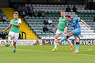 Regan Hendry (21) of Forest Green Rovers shoots at goal during the Pre-Season Friendly match between Yeovil Town and Forest Green Rovers at Huish Park, Yeovil, England on 31 July 2021.