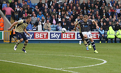 Millwall's Martyn Waghorn shoots - Photo mandatory by-line: Robin White/JMP - Tel: Mobile: 07966 386802 28/09/2013 - SPORT - FOOTBALL - The Den - Millwall - Millwall V Leeds United - Sky Bet Championship