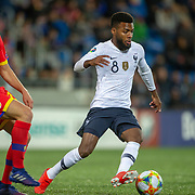 ANDORRA LA VELLA, ANDORRA. June 1.  Thomas Lemar #8 of France defended by Max Llovera #20 of Andorra  during the Andorra V France 2020 European Championship Qualifying, Group H match at the Estadi Nacional d'Andorra on June 11th 2019 in Andorra (Photo by Tim Clayton/Corbis via Getty Images)