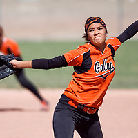 041613       Cable Hoover<br /> <br /> Gallup Bengal Kianna Spencer (11) pitches against the Miyamura Patriot Baylee Schmaltz (9) at second base Tuesday at Gallup High School.